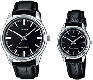 Casio His & Her Black Dial Leather Band Couple Watch - MTP/LTP-V005L-1A
