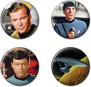 """Ata-Boy Star Trek Enterprise and Crew Set of 4 1.25"""" Collectible Buttons"""