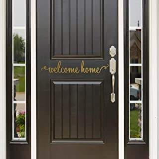 IARTTOP Welcome Home Lettering Wall Art Decal, Modern Life Front Door Sign Sticker Family Wall Decor, Gold