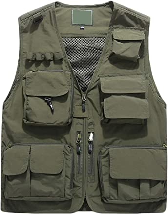 Vest Quickdrying Season Thin Section Large Size Men Outdoor Multipocket Tooling Fishing Mesh Photography Spring And Summer Three colors XMJ (color   ArmyGreen, Size   XL)