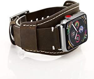 GOSETH Compatible with Apple Watch Band 44mm SE Apple Watch Band 42mm Series 6/5/4,Genuine Leather Strap with Stainless Clasp for iWatch Series 654321(Coffee, 42mm/44mm Large Size 11inch)