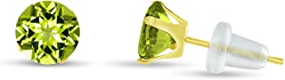 Solid 10k White or Yellow Gold Round 4mm Genuine Gemstone Stud Earrings