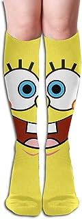 Calcetines hasta la rodilla Calzoncillos cuadrados Bob Esponja Calcetines de vestir lindos amarillos para niña Mujer
