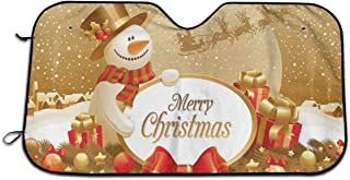 Tinagty6ca Merry Christmas Cute Snowman Snowflake Windshield Sun Shade - for Maximum UV and Sun Protection ¨CFoldable Sunshade for Car Windshield Will Keep Your Car Cooler- Windshield Sunshade