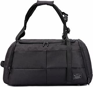 Gym Duffel Bags, 55L Canvas Travel Luggage Bag, Waterproof Gym Bag with Shoes Compartment for Women, Men(Upgraded-Black)