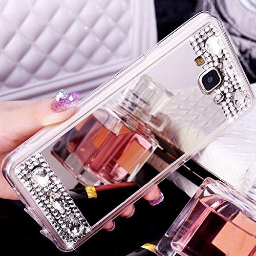 Coque Galaxy J3,Etui Galaxy J3,Housse Galaxy J3,ikasus Placage brillant paillettes strass cristal diamant Miroir Silicone Gel TPU Souple Housse Etui de Protection Case Coque Etui pour Galaxy J3,Argent