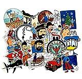 ZJJHX Europa y los Estados Unidos Fantasía Animación Tintín Aventura Trolley Pegatinas de Graffiti Nevera Batería Auto Auto Pegatinas Impermeables 25