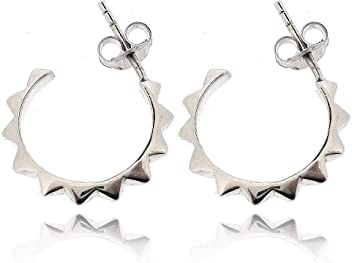 Sovats Fish Curved Threader Earrings for Women 925 Sterling Silver Rhodium Plated Simple Stylish Stud Earrings/&Trendy Nickel Free Earring