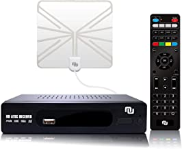 ATSC HD Digital TV Converter Box w/ 1080p HDMI Output, 50 Miles Over The Air(OTA) Flat Antenna & Amplifier, Daily/Weekly Scheduled DVR Recorder w. TV Control Learning Buttons (2019 Version) (Clear)