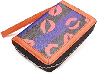 Leather Women's Wallet Short Zipper Clutch Multifunction Mobile Phone Purse Waterproof (Color : Blue, Size : S)