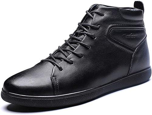 JIALUN-des Chaussures Bottines pour Hommes à la Mode, Tendance décontractée Bottes de Sport légères et Douces (Warm Velvet en Option) (Couleur   Warm noir, Taille   39 EU)