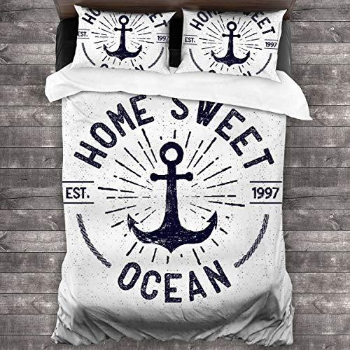 AIMILUX Funda Edredón,Letras de Home Sweet Ocean en un boceto náutico con Fondo Desgastado,Ropa de Cama Funda Nórdica,1(140x200cm)+2(50x80cm)