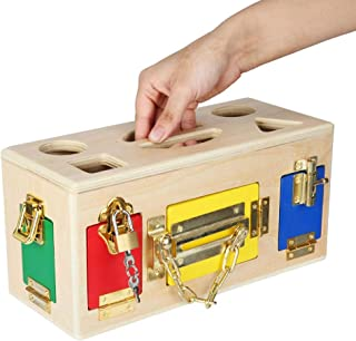 Wooden Sensory Board, Latch Activity Board Motor Skills And Problem Solving Developmental Toy, Gift for Boy Or Girl