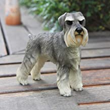 ZRL77y Schnauzer Dog Sculpture Statue Simulation Animal Figurine Model Resin Crafts Dog Ornaments Decorated Home Decors Resin Ornaments in Home Sculpture Figurine Home Decor Gift (Color : A)