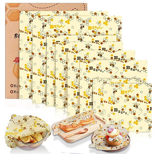 Tonsooze Emballage Cire d'abeille, Emballage Alimentaire Réutilisable et Écologique Emballages en Coton Biologique, Sacs alimentaires pour Sandwichs, Fromage, Fruits, Pain, Collations (8 Pcs)