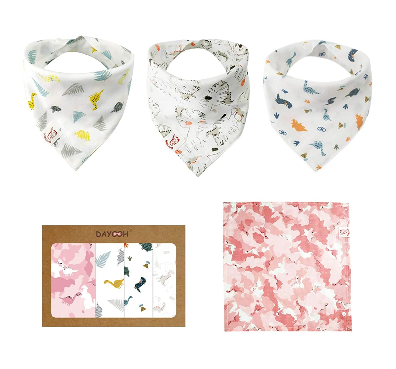 Muslin Bandana Bibs - Organic Scarf Bib for Girls with Snaps - 100% Organic Cotton Muslin -1 Square Bandana and 3 Muslin Bibs for Teething Babies,Camouflage Dinosaur, Pink