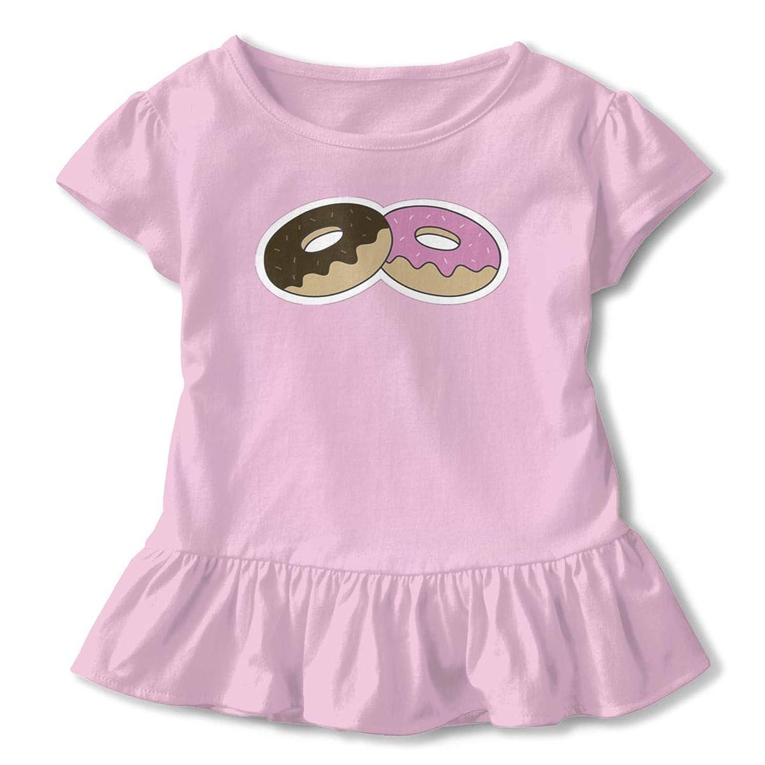 SDHEIJKY Donuts Girls Short Sleeved Shirt Cute Ruffle Top Girls Soft Basic T-Shirt, 2T-6T White