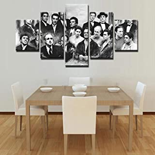 Ssckll Modern Canvas Painting Home Decor 5 Pieces Retro Movie Characters Pictures Wall Art Hd Printed Gangsters Poster-Frameless