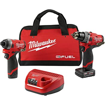 "Milwaukee Electric Tools 2598-22 M12 Fuel 2 Pc Kit- 1/2"" Hammer Drill & 1/4"" Impact"