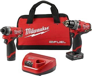 أدوات ميلواكي الكهربائية 2598-22 M12 مجموعة وقود قطعتين - 1/2 بوصة حفر المطرقة و 1/4 بوصة تأثير
