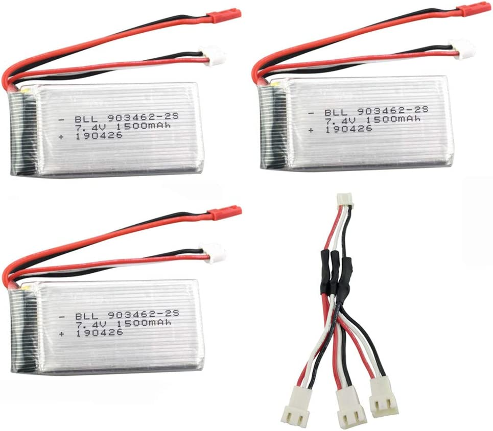 sea jump 3PCS Today's only 7.4V 1500mah with Conversi 1to3Charging Sale SALE% OFF Battery Li