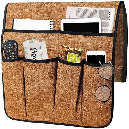 Bolsa de Almacenamiento de sofá de Lino de algodón Caja de Almacenamiento de teléfono móvil con Control Remoto Bolsa de Almacenamiento de reposabrazos de sofá Funda de reposabrazos de sofá