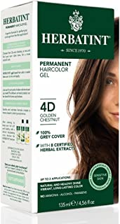 Herbatint Permanent Herbal Haircolor Gel, 4D Golden Chestnut, 4.56 Ounce