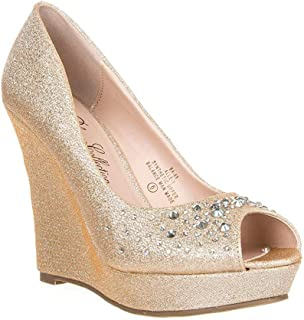 DeBlossom Womens Glitter Rhinestone Peep Toe Pump Alle-1