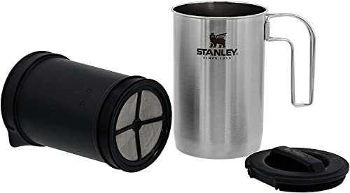 Stanley Adventure All-in-One, Boil + Brewer French Press Coffee Maker - 32oz BPA Free Campfire Coffee Pot Heats up Te...