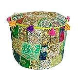 Maniona Crafts - Puf otomano de algodón decorativo indio con diseño de retazos...