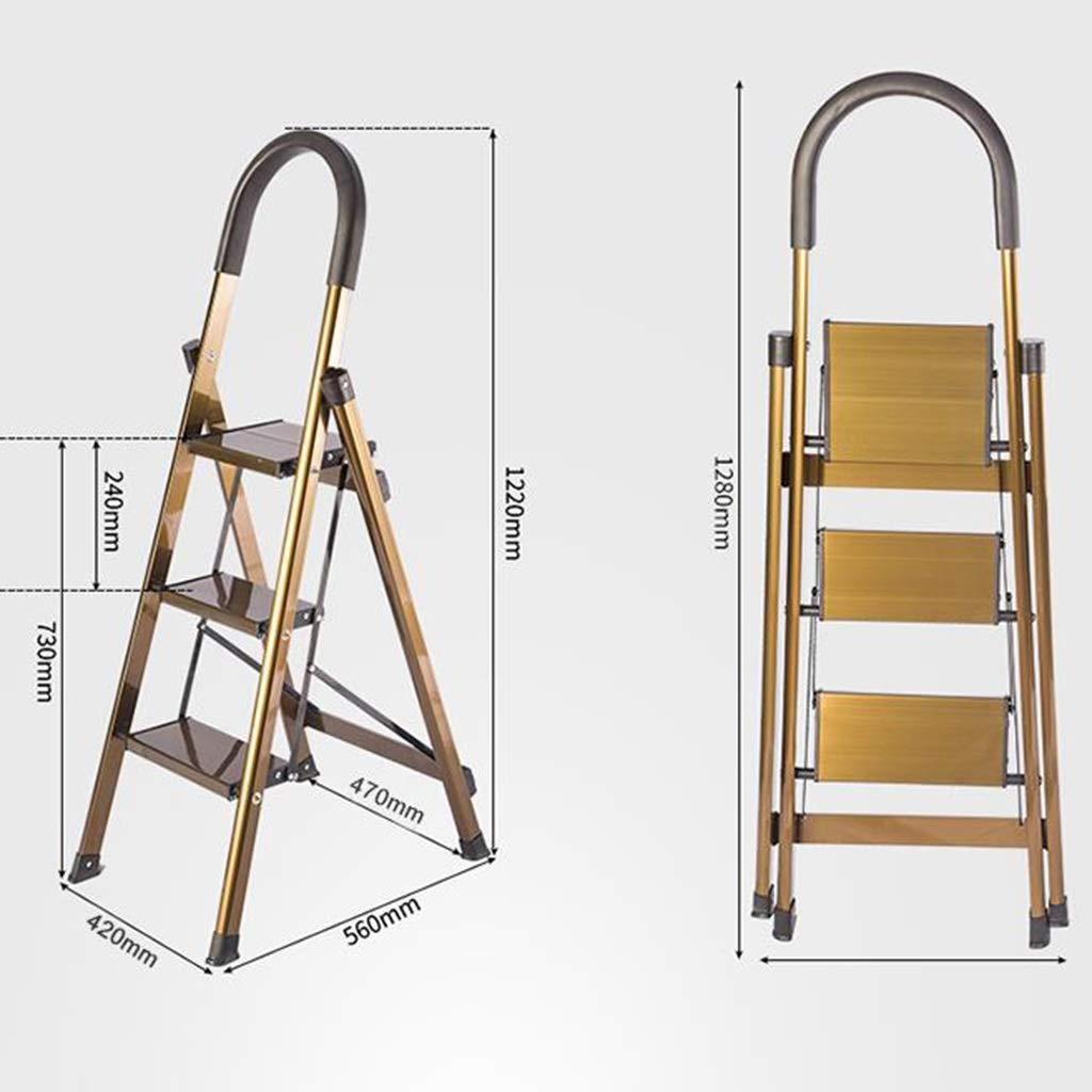 Xsgsgfs Escaleras Plegables peldaños, 3 Paso / 4 Escalera Plegable de Aluminio, Heavy Duty Cocina Escalera, escaleras de Tijera Plegable portátil, Paso de heces, Anti-Slip Mat, Capacidad 150kg: Amazon.es: Hogar