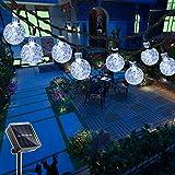 Hezbjiti 40 LEDs Guirnaldas Luces Exterior Solar 25FT, Cadena de Bola Cristal Luz para Exterior, Guirnalda Luminosa Solar Luces Decoraci¨®n para Jard¨ªn, Casa, Bodas, Jardine