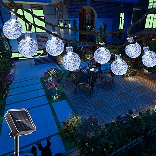 Hezbjiti 40 LEDs Guirnaldas Luces Exterior Solar 25FT, Cadena de Bola Cristal Luz para Exterior, Guirnalda Luminosa Solar Luces Decoraci¨n para Jard¨ªn, Casa, Bodas, Jardine