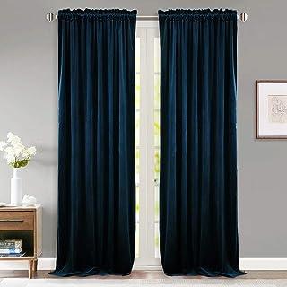 StangH Navy Blue Curtains Velvet - Thick Soft Velvet Light Blocking Curtains 96 inches for Living Room, Elegant Decor Wind...