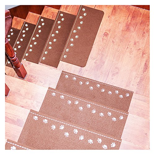 X-Life Teppich Stufenmatten Treppenstufen Stufenschutz für Ihre Treppe, Nacht Luminous Pads, Leuchtende Stock Treppe Teppiche, Anti-Rutsch 55x22cm (Beige-Rechteckig-13 Stück)