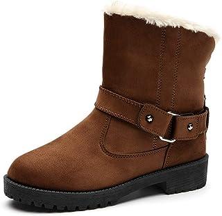 [GoldFlame-JP] 大きいサイズ ムートンブーツ レディース スノーブーツ ローヒール 裏起毛 あったか ベルト付き 滑り止め もこもこ ボア付き 冬用 防寒 可愛い 歩きやすい 25.5cm 26.0cm 26.5cm 冬用 ブラック グレイ