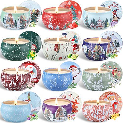 McNory Aroma Kerzen,12 Stück SojaWachs Duftkerzen Geschenk Set,Aromatherapie-Kerze,Duftkerze Natürliches Aromen von Rose Zitrone Labendel für Weihnachten,Geburtstag
