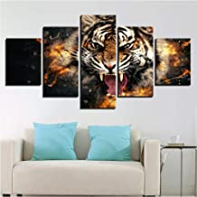 dalxsh Wall Art Poster Modern Home Decor Living Room Canvas 5 Panel Roaring Tiger Animal Framework Hd Print Painting Pictures-20X35Cmx2/20X45Cmx2/20X55Cmx1