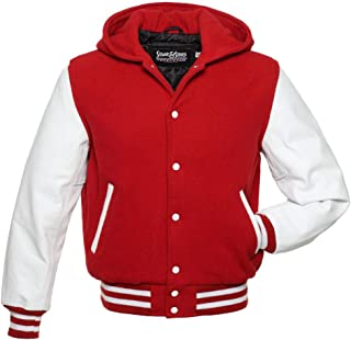 Hoodie Varsity Letterman Jackes (10 Team Colors) Wool & Leather XXS to 6XL