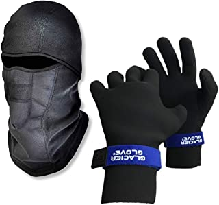 Ice Fishing Gear Bundle - 1 Face Mask (Black Adult) 1 Fishing Hunting Gloves (Black Large)
