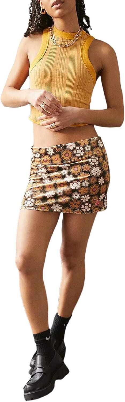 Piacakece Women Skirts Y2K E Girl Casual Bodycon Plaid Floral Print Elastic A Line Mini Short Skirt Cute Skirt Streetwear