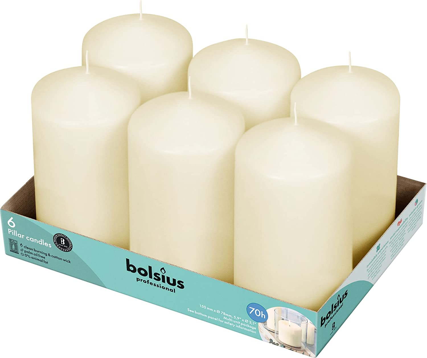 BOLSIUS Set 1 year warranty of 6 Ivory Pillar 3x6 Unscented Candl Candles Industry No. 1 inch -