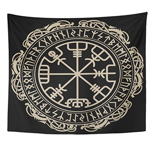 Emvency Tapestry Black Design Magical Runic Compass in The Circle of and Dragons Tattoo Home Decor Wall Hanging for Living Room Bedroom Dorm 50x60 inches