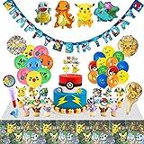 veeyiki Geburtstagsfeier-Set, 142 Stück, Dekoration für Videospiel-Partys, für Jungen, Luftballons, Wimpel, Kuchen-Topper, Fingerlichter, Tischdecke, Aufkleber, Cupcake-Topper