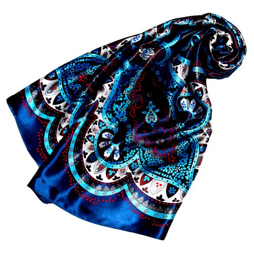LORENZO CANA Foulard pour la femme – écharpe de 100% soie pour le printemps et l´été, carré avec les mesures de 90 x 90 cm – en saphir bleu turquoise rouge blanc