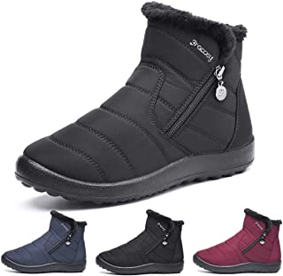 1f48fbc8d1ac Camfosy Bottines de Neige Femmes Filles, Bottines Hiver Plates en Tissu  Imperméable Fourrure Chaussures Ville