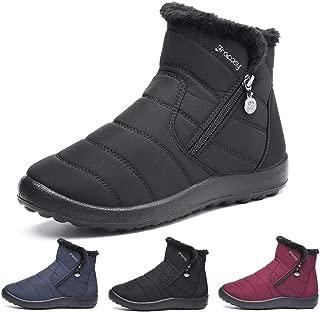 gracosy Botas de Mujer Otoño Invierno Goma Encaje Forro de Piel Punta Redonda Botas de Nieve Zapatos de Trabajo Formal Calzado Antideslizante Ligero Botines Que Caminan
