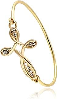 Dainty Open Irish Celtic Love Knot Bangle Sideways Cross Wrap Bangle Bracelet for Women