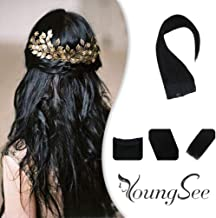 Youngsee 12inch Halo Hair Extensions Jet Black Human Hair 80G/Set Secret Wire Hair Extensions Silky Straight Real Human Hair 11