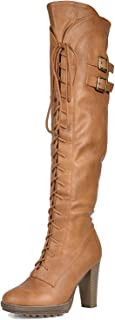 beige lace up thigh high boots